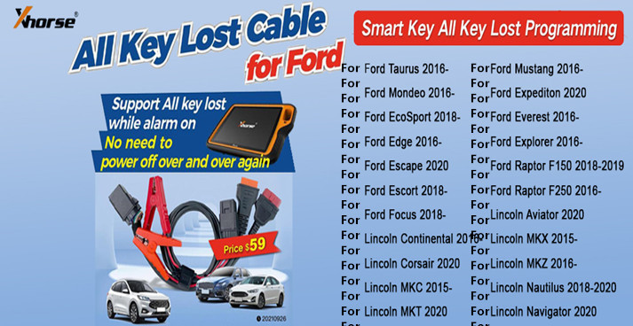 Xhorse Ford All Key Lost Cable